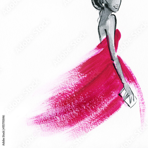 woman with elegant dress .abstract watercolor .fashion background