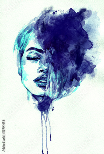 Fotobehang Anna I. beautiful woman face. abstract watercolor. fashion illustration