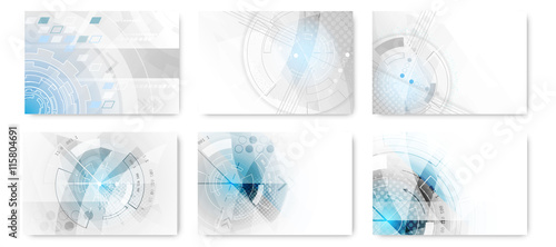 Set of abstract technological futuristic background. © ftotti1984