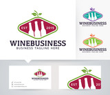 Wine Business vector logo with alternative colors and business card template