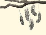 Hand drawn outline feather hanging on tree