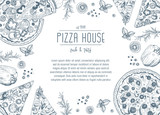 Vintage pizza frame vector illustration. Hand drawn with ink. Pizza design template. - 115823473