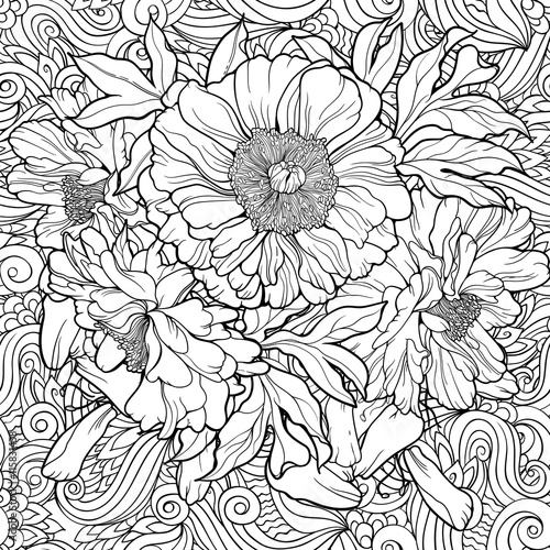 Coloring page with flowers and abstract background.