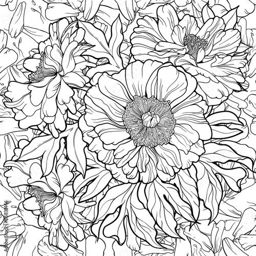 many flowers. Seamless pattern.