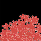 Set of Red Puzzle  on Black Background.  Jigsaw Pattern