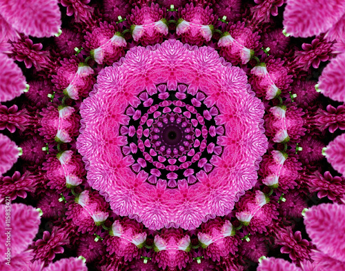 a floral kaleidoscope pattern in shades of pink, purple and green Poster