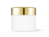 White cream jar with gold cap isolated on white background, Ideal for mock up packaging.