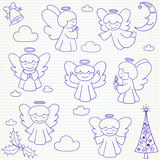 Collection of vector Christmas angels and ornaments in doodle st