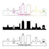 Indianapolis skyline linear style with rainbow