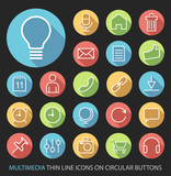 Multimedia Minimalistic Thin Line Icons on Circular Colored Buttons.