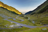 Transfagarasan mountain road in summer, at sunrise