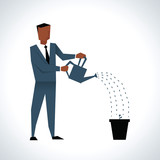 Illustration Of Businessman Watering Plant In Pot