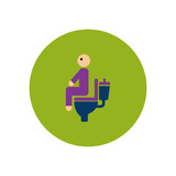 stylish icon in color circle people diarrhea