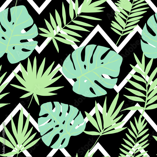 Materiał do szycia Green tropical leaves on a geometric background..  Vector seamless pattern