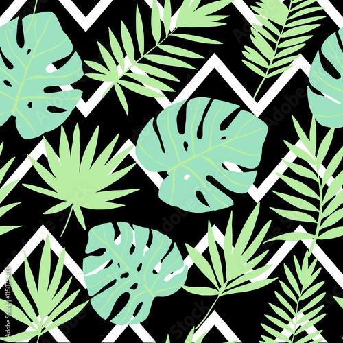 Materiał do szycia Zielony tropikalne liście na tle geometryczne...  Wektor wzór