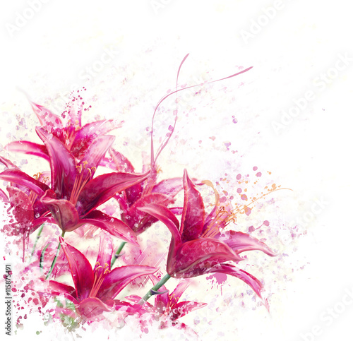 Red Lily Flowers watercolor Poster