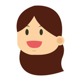 flat design face of woman icon vector illustration