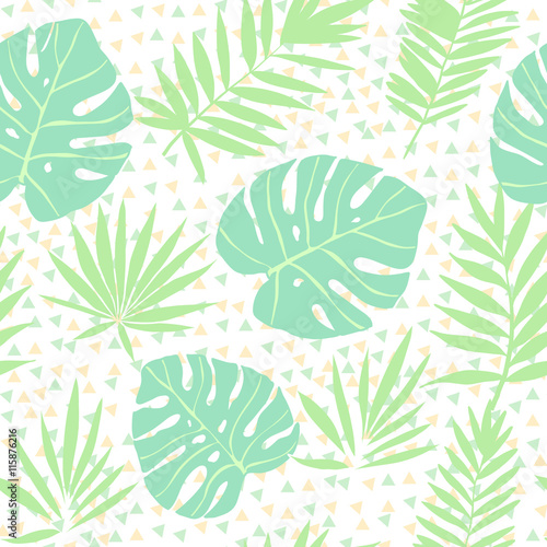 Materiał do szycia Blue and pink tropical leaves on a geometric background. Vector seamless pattern