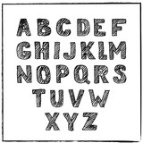 Vector hand drawn sketch alphabet. Ink scratched font. Hatching black letters, isolated on white background.