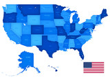 High Detail USA Blue shaded Map - 115879466