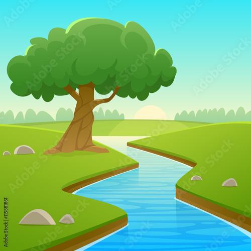 Spoed canvasdoek 2cm dik Turkoois Summer Cartoon Landscape