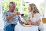 Smiling mature couple toasting red wine