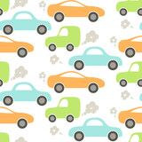 Car cute baby vector seamless pattern. Kid fabric and apparel design. Blue, green and orange cute cars pattern.