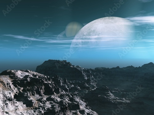 Fototapeta Exoplanet Exploration - Fantasy and Surreal Landscape. 3D Rendered.