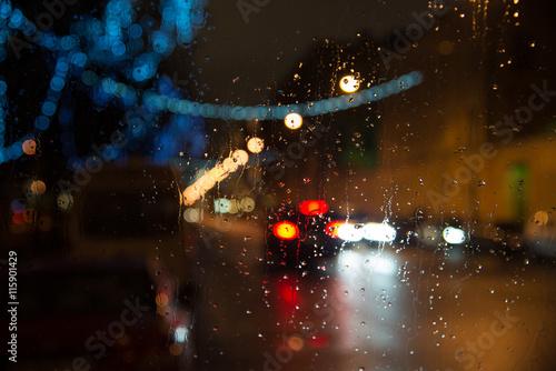 Foto op Aluminium Las Vegas Wet car window with the background of night city lights