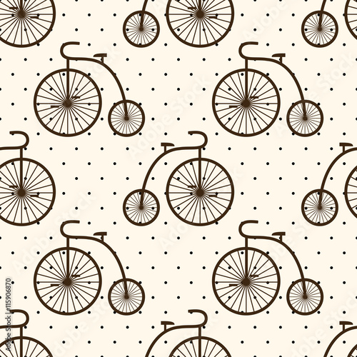 Materiał do szycia Retro bicycle seamless pattern on polka dot background. Vintage transport illustration. Old bike background.