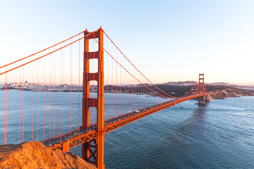 gold gate bridge at sunrise