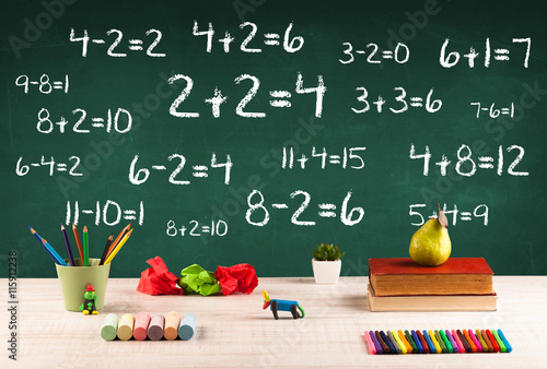 School blackboard with pile of books плакат