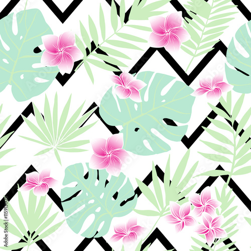 Materiał do szycia Green tropical leaves and  pink flowers. Vector seamless pattern