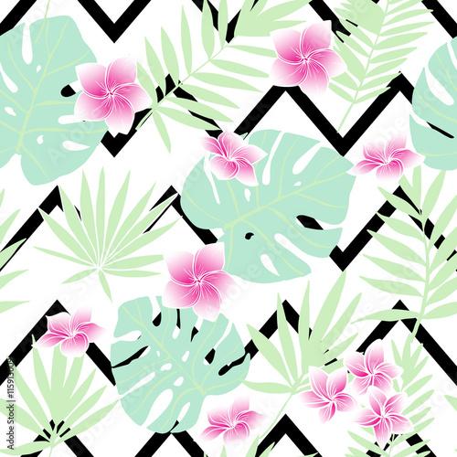Materiał do szycia Tropikalne liście zielone i różowe kwiaty. Wektor wzór
