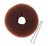 Donut bun maker with hairpin isolated on white top view