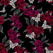 Seamless floral pattern background flowers ornament and butterfl