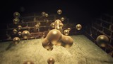 3D golden liquid droplets joining and separating in an urban alley