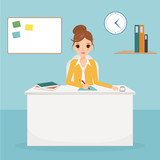 business woman character at office desk. Working woman.