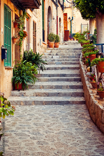Fototapeta Street in Valldemossa village in Mallorca
