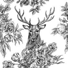 Naadloze patternr met herten en bloemen