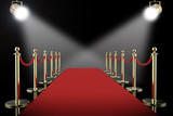 red carpet and rope barrier with shining spotlights