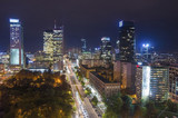 Fototapety Aerial view of Warsaw Financial Center at night, Poland