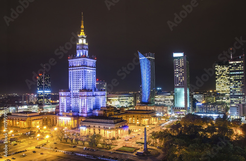 The Palace of Culture and Science in Warsaw at night
