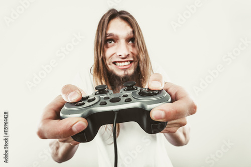 Happy man playing games Poster