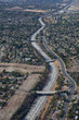 A serpentine of freeway at Los Angeles's valley