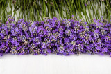 frame of lavender on a white wooden background - 115972892