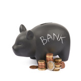 Ceramic piggy bank container isolated