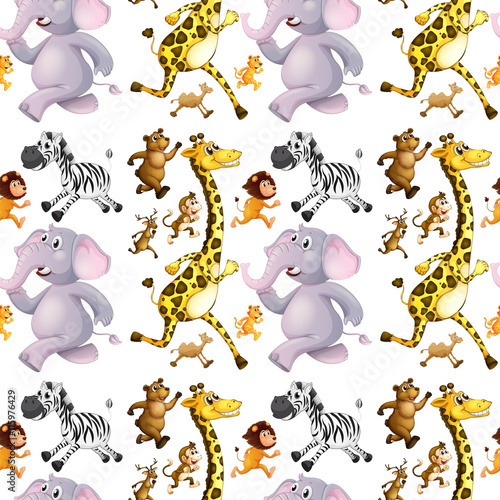 obraz lub plakat Seamless background with many animals running