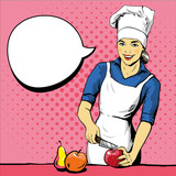 Beautiful woman cooking. Vector illustration in retro pop art style. Female chef in uniform. Restaurant concept