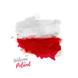 Fototapety Symbol, poster, print, banner Poland. Map of Poland with the decoration of the national flag. The Polish national flag in watercolor style drawing. Vector